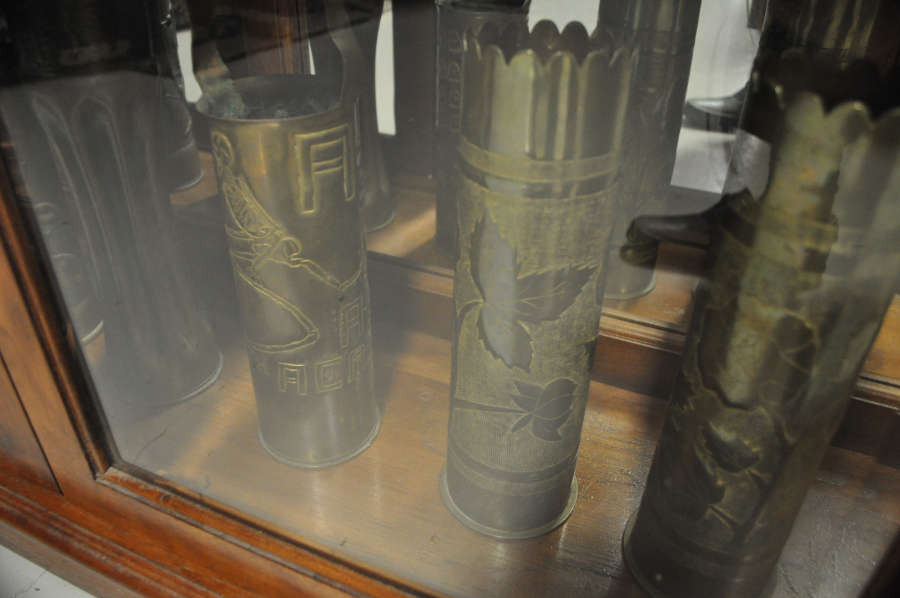 Trench art at the Oregon Coast Military Museum in Florence, Oregon.
