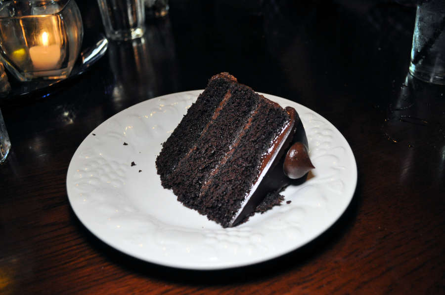 Chocolate cake at the Waterfront Depot Restaurant.