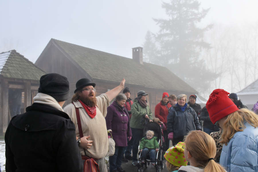 A guided tour at Fort Langley National Historic Site.
