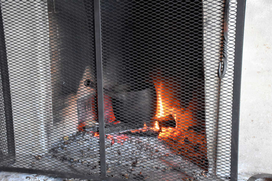Roasting chestnuts on an open fire.