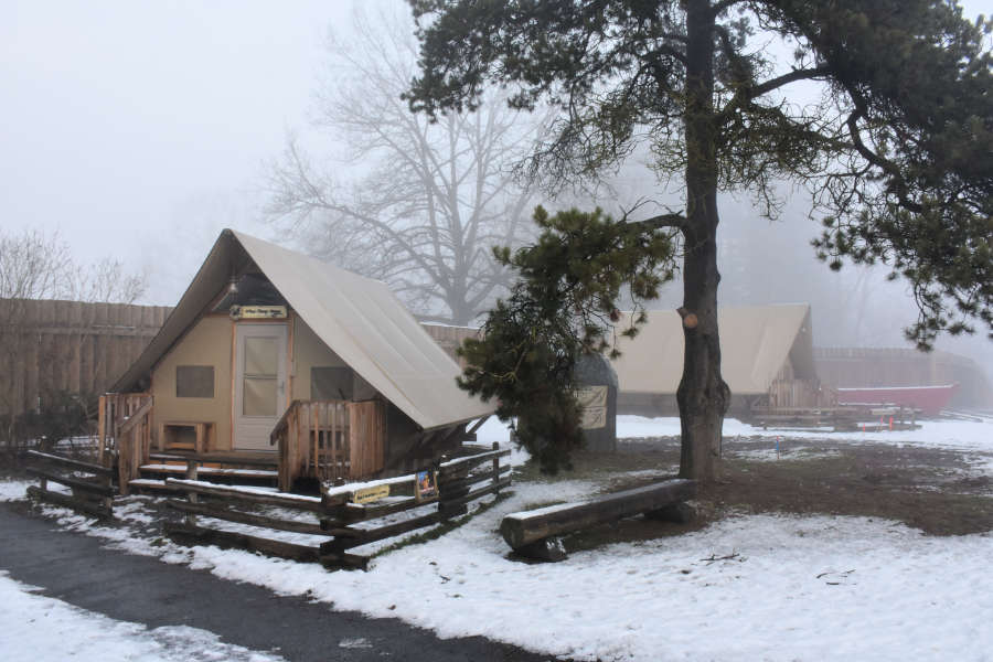 Tent cabin at Fort Langley National Historic Site.