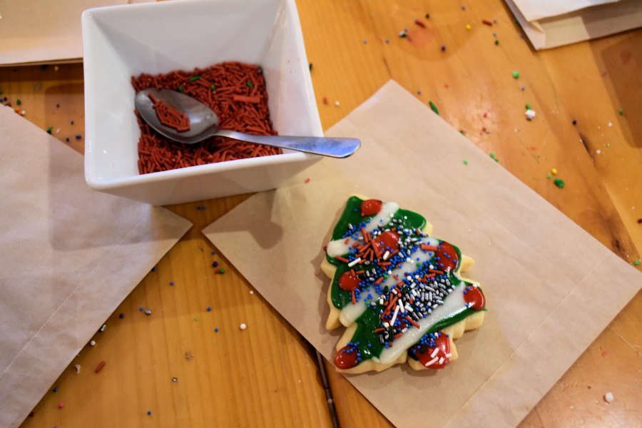 Sugar cookie decorating at the cafe.
