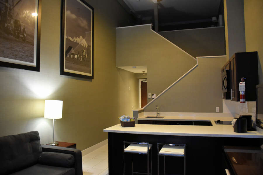 The Signature King Loft Suite at the Sandman Signature Langley Hotel.