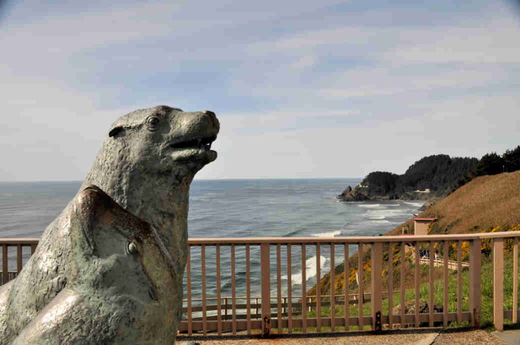 A sea lion sculpture at Sea Lion Caves in Florence, Oregon.