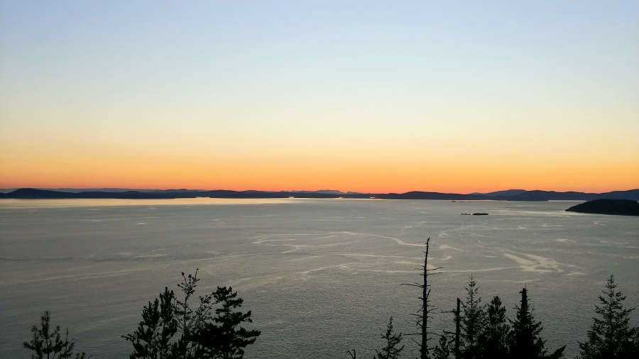 Sunset at Sares Head in Anacortes, Washington.