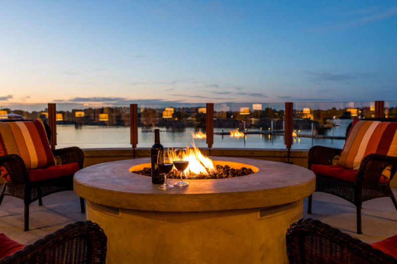 The outdoor firepit at The Lodge at Columbia Point.