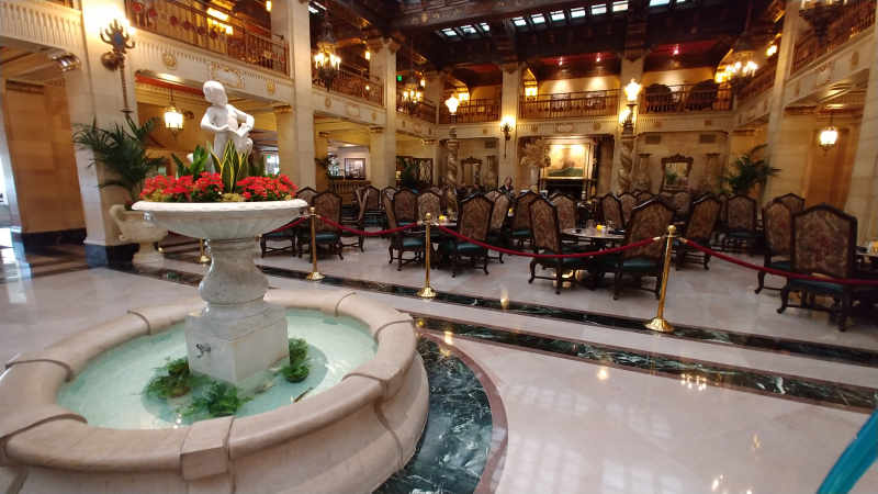 The lobby at The Historic Davenport Hotel.