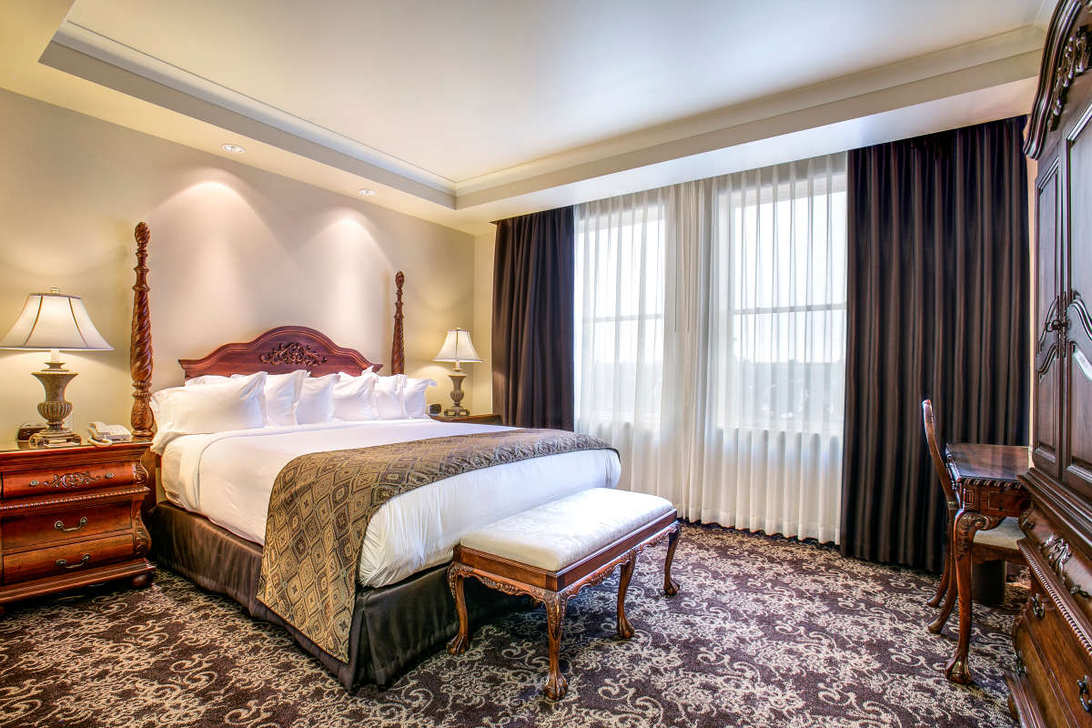A king room at The Historic Davenport Hotel.