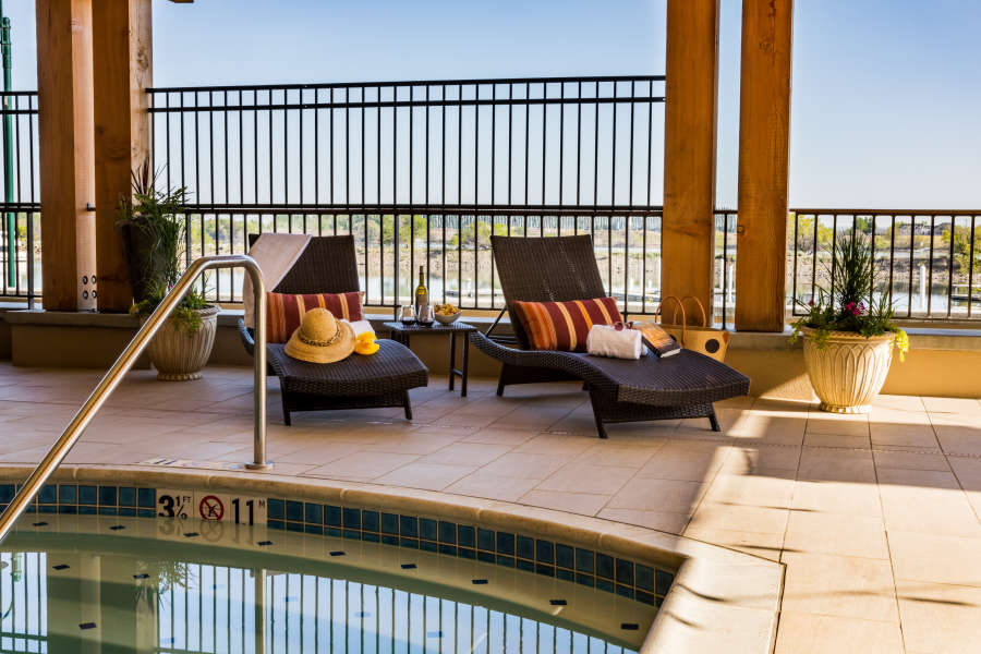 Poolside ambiance at The Lodge at Columbia Point.