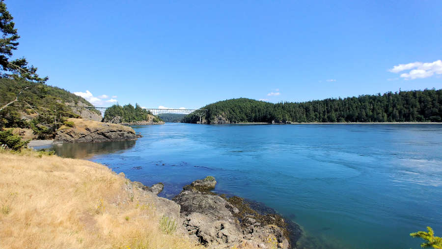 View of Deception Pass Bridge from Lighthouse Point.