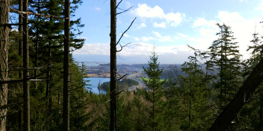 View of HWY 20 coming into Anacortes, Washington.