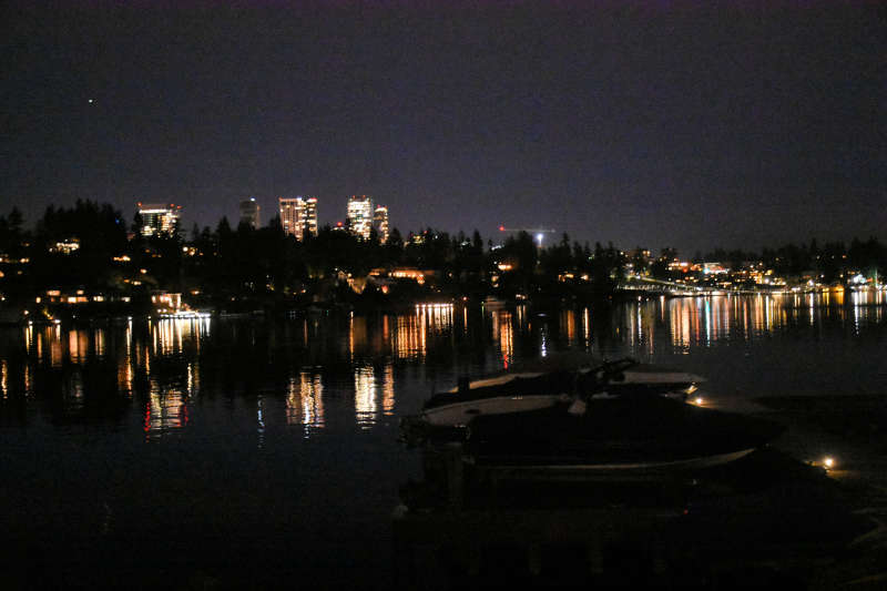 Bellevue and the water at night.