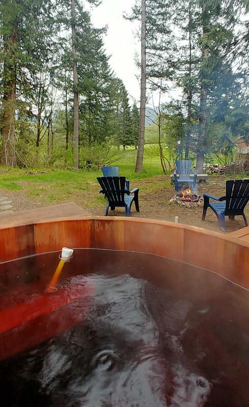 View from the cedar soaking tub at Millard's Cabin in Packwood, Washington.