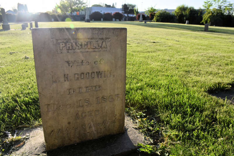Priscilla Goodwin's headstone at Pioneer Graveyard in Union Gap, Washington.