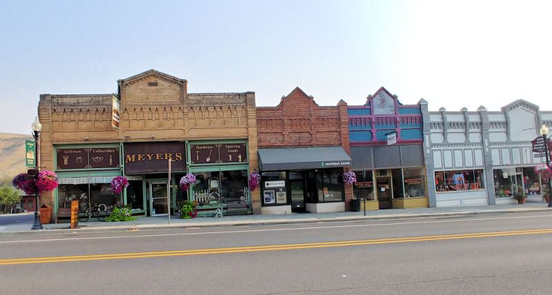 Businesses in downtown Pomeroy, Washington.