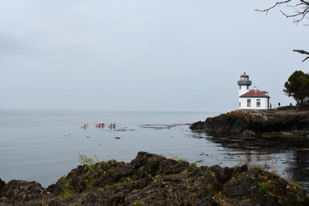 Lime Kiln Lighthouse with kayakers.