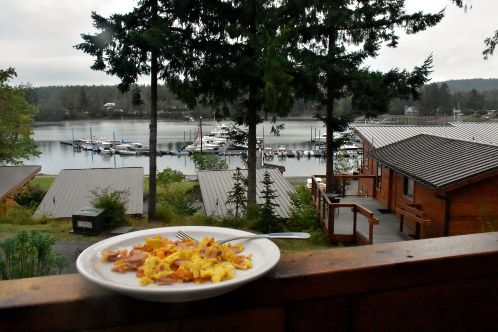 Breakfast and a view at Snug Harbor Resort.