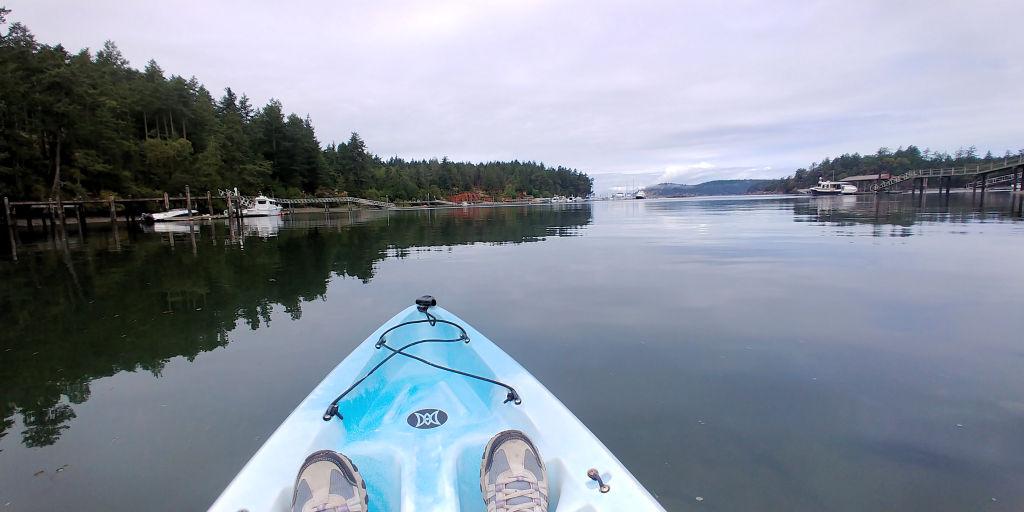 Kayaking in Mitchell Bay on San Juan Island.