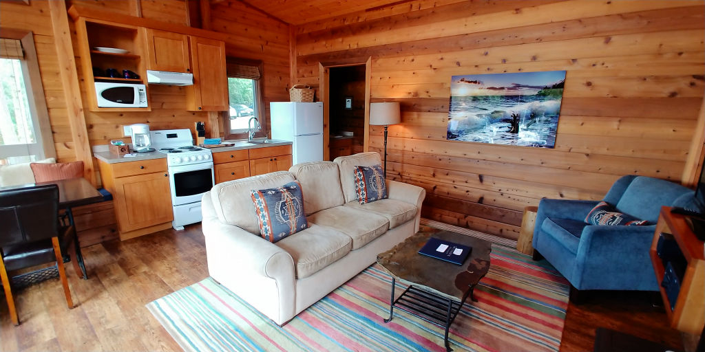 The living room in a cabin at Snug Harbor Resort.