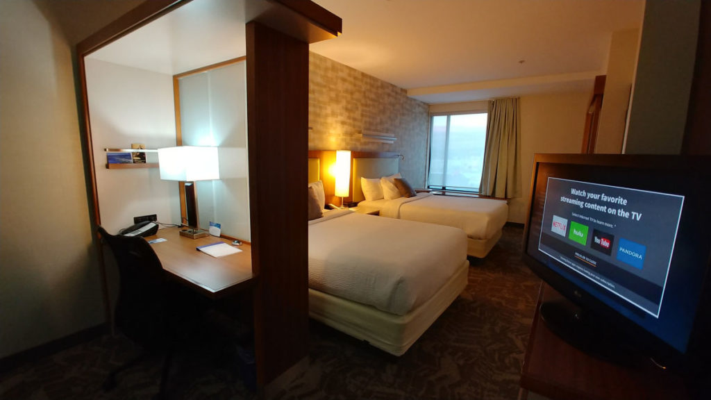 Bedroom at the Springhill Suites by Marriot Wenatchee.