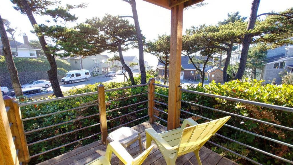 Private deck at the Inn at Manzanita in Manzanita, Oregon.