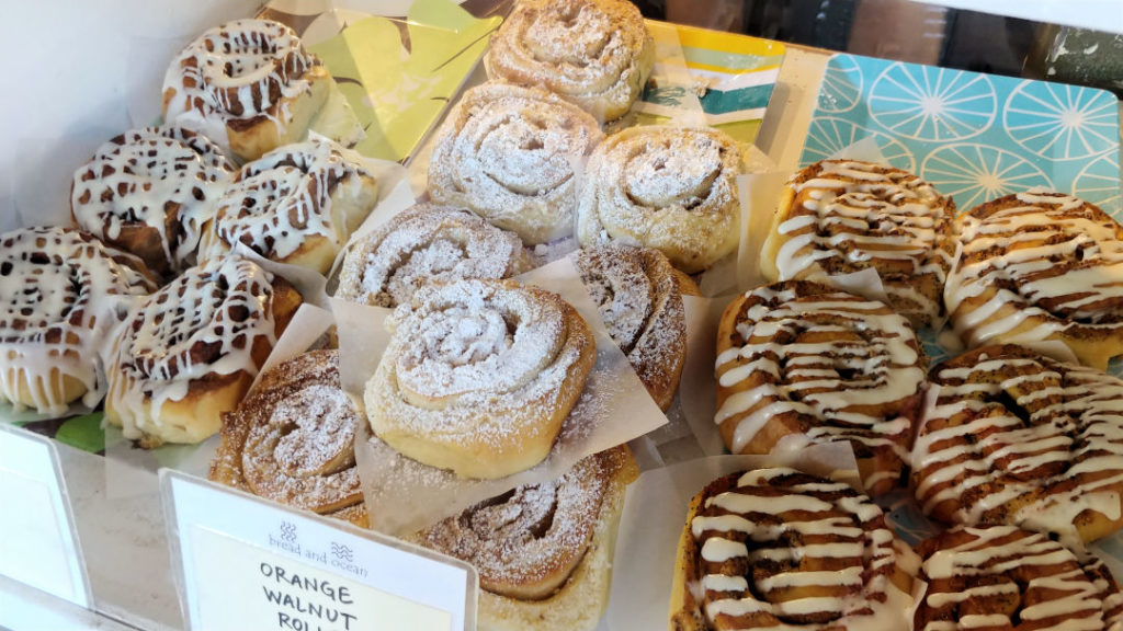 Cinnamon rolls at Bread and Ocean at Manzanita, Oregon.