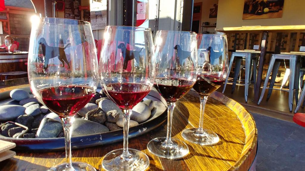 A tasting flight from the winery at manzanita.