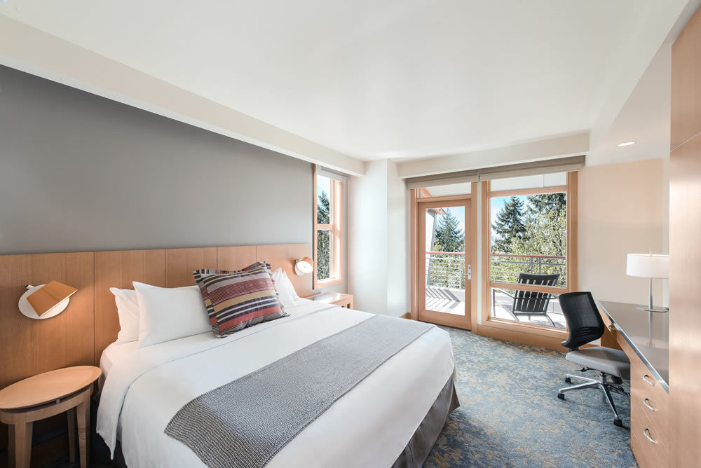 Guest room at Cedarbrook Lodge at SeaTac, Washington.