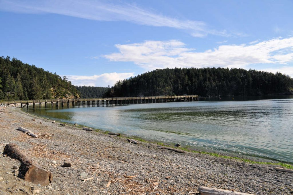 The beach at Bowman Bay at Deception Pass State Park.