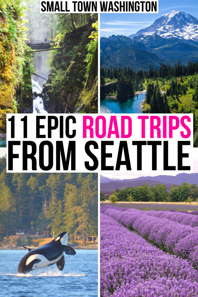 "4 photos of possible weekend getaways from seattle: olympic np, mount rainier, san juan islands, sequim lavender. black and pink text on a white background reads ""11 epic road trips from seattle"""