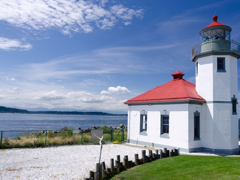 White lighthouse with red roof and patch of well-manicured grass on the Puget Sound with sea in the background.