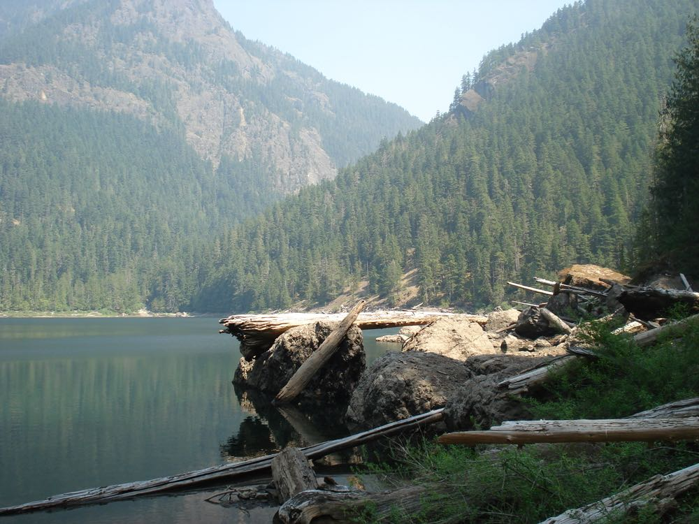 A glassy, almost turquoise alpine lake with rocks and fallen trees on the shoreline, surrounded by mountains covered in evergreen trees in Olympic National Park