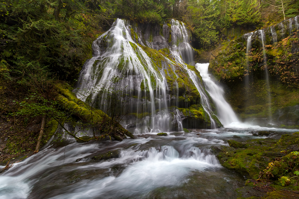 A low angle view of the Panther Creek waterfall cascading over the rock forms in delicate streams of water.