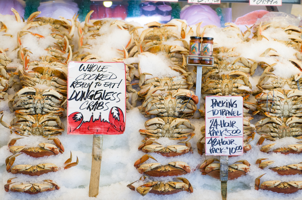 Dungeness crab for sale on ice in the famous Pike Place Fish Market