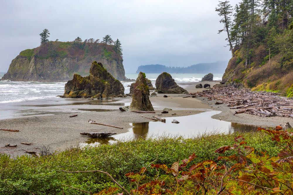 Cloudy day with sea stacks and wild islands off the rugged coast of Ruby Beach, a must-stop on this Olympic Peninsula road trip