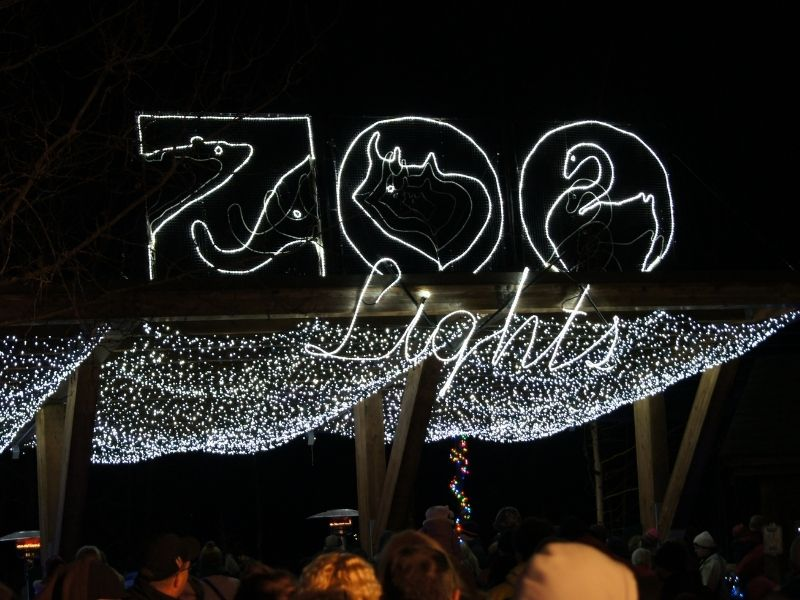 "Christmast lights that read out ""Zoo Lights"" at the festival at the Woodland Park Zoo in Seattle, a winter tradition."