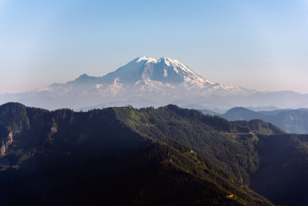 view of mount rainier from mailbox peak, one of the best hiking trails near seattle washington
