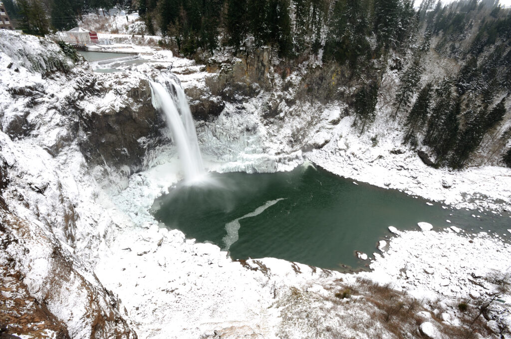 snoqualmie falls in winter as seen from above