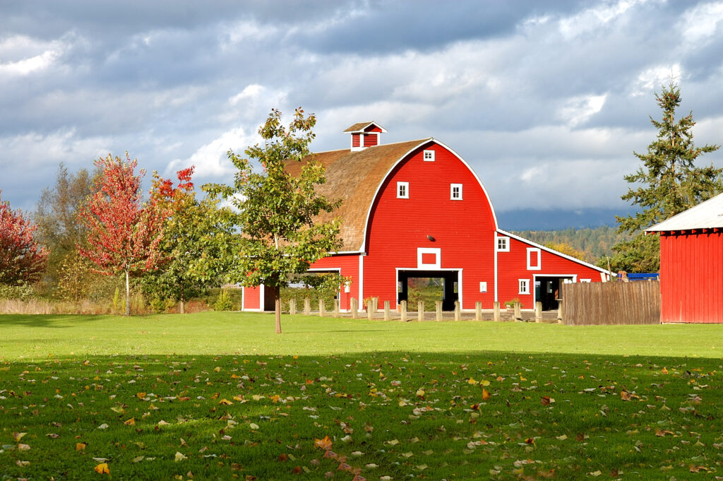 red barn on a grassy lawn in carnation, one of the best small towns in wa