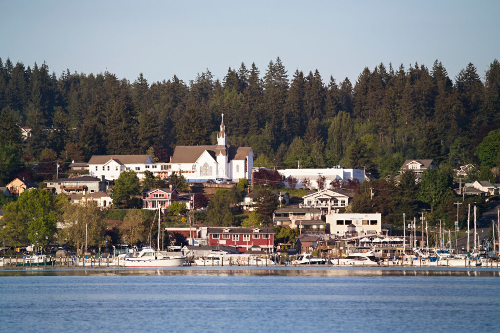 harbor of poulsbo washington as seen from across the water, one of the best washington small towns