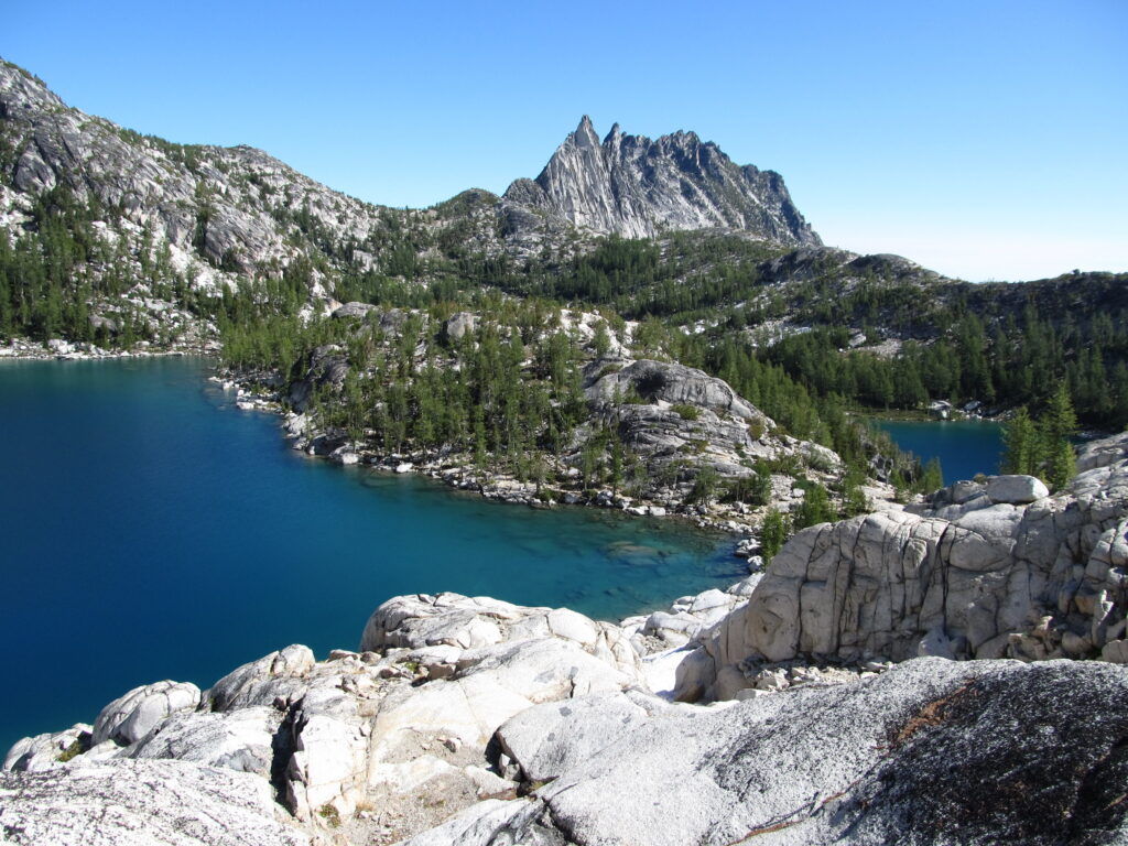 View of the Enchantments in Washington State with two lakes in a foreground
