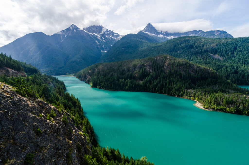 Diablo Lake as seen from above, with mountains in the background