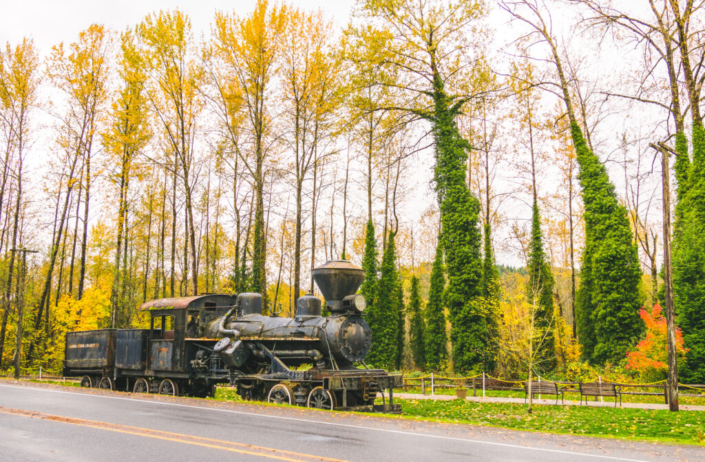historic train engine parked in elbe washington in the fall with foliage behind it