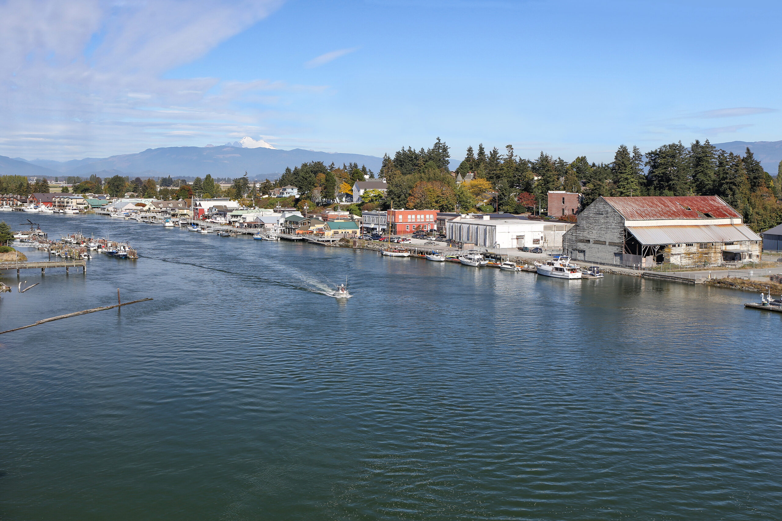 view of la conner washington from across the water, one of the best small towns in washington state