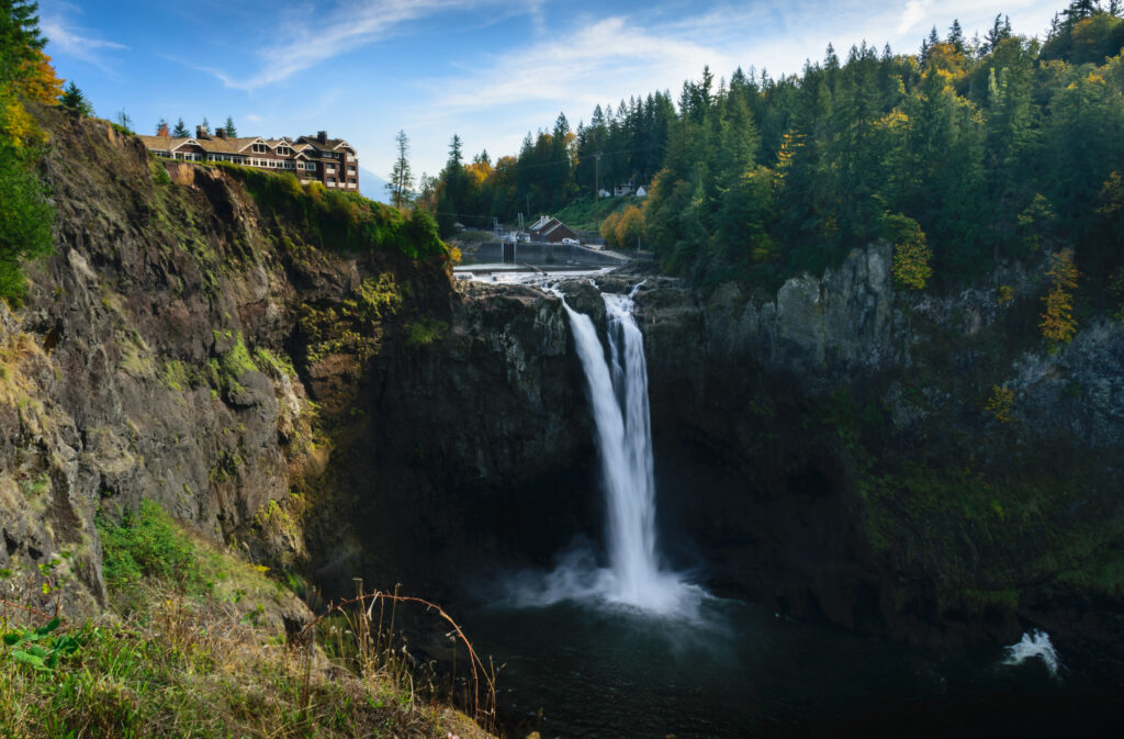 snoqualmie falls in autumn, when the falls are more narrow