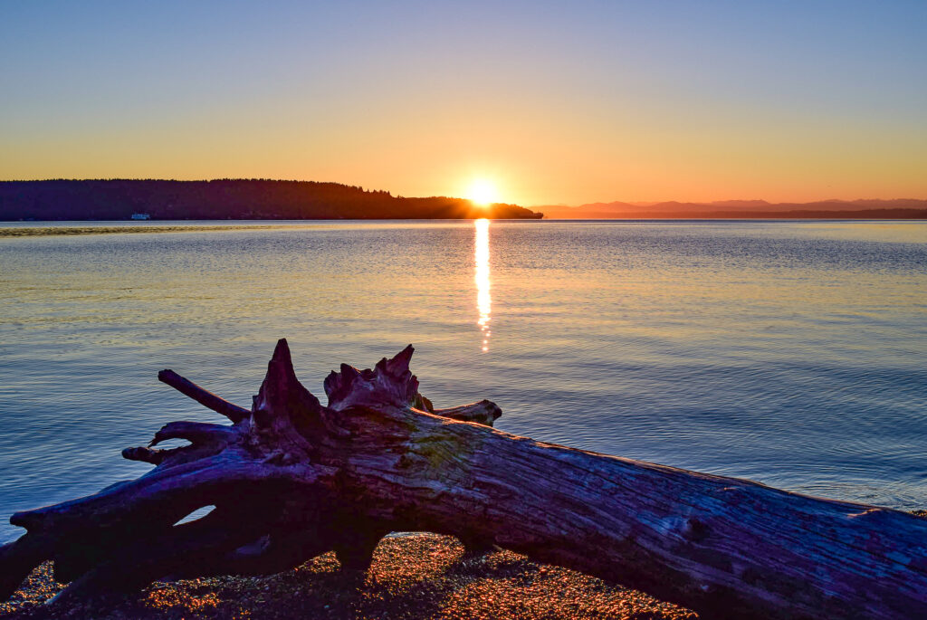 sunset over owen beach with a drift log in the foreground