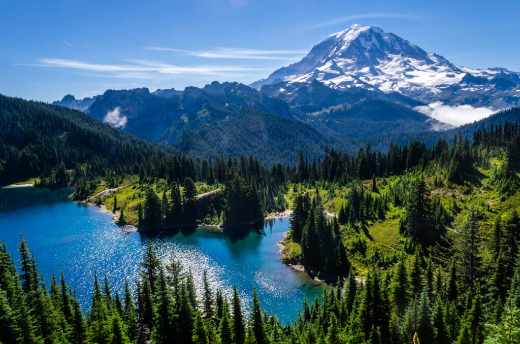 view of mount rainier in the background with a lake in the foreground