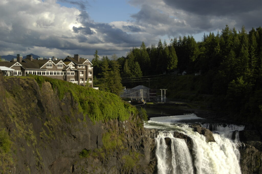 salish lodge and spa as seen perched on top of snoqualmie falls washington