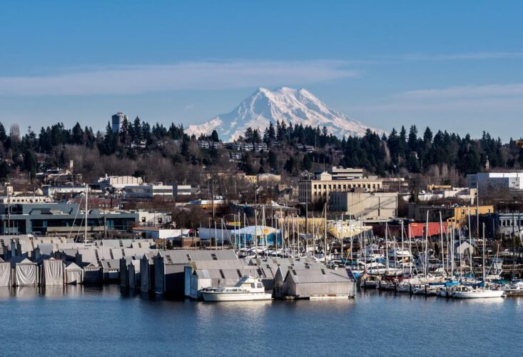 Marina full of sailboats in Olympia, Washington, with a snow-covered mountain peak in the center of the photo in the distance.