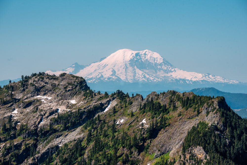 A ridge covered in trees in the foreground with a view of the snow-capped Mt Rainier peak in the distant background